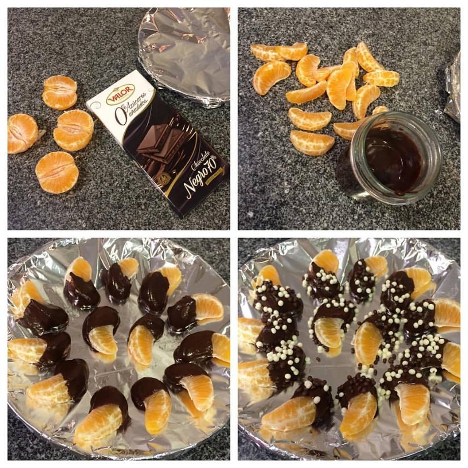 "Mandarinas con chocolate ""fit"""