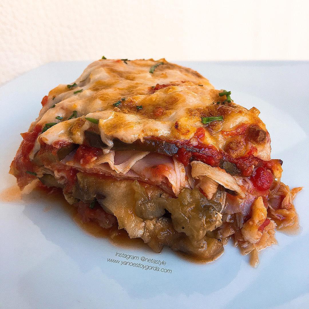 Lasa a de berenjenas y pavo con tomate natural y - Berenjenas con mozzarella ...
