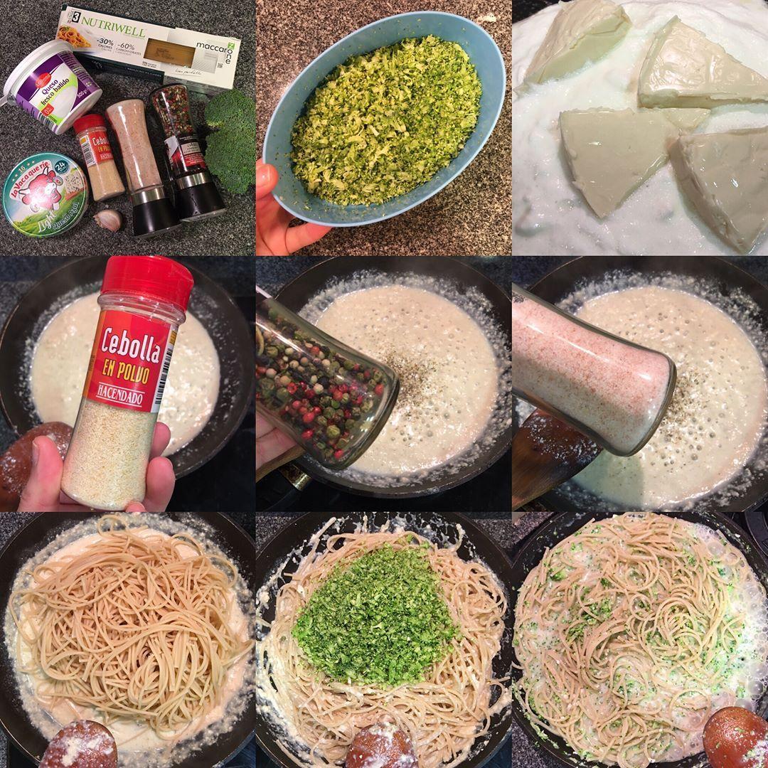 Espaguetis proteicos con brócoli y crema de quesito light con queso azul
