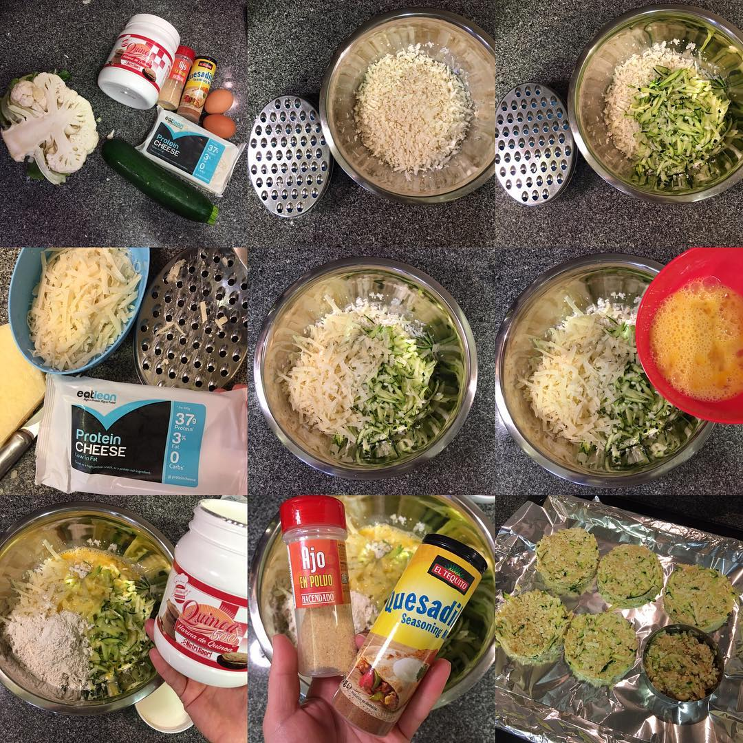 Tortas de coliflor, calabacín y queso proteínico