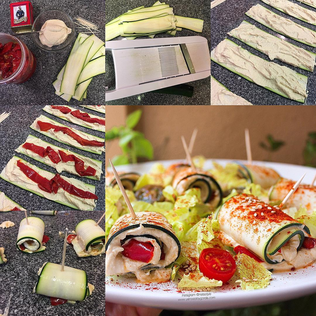 Rollitos de calabacín rellenos de hummus y pimiento asado