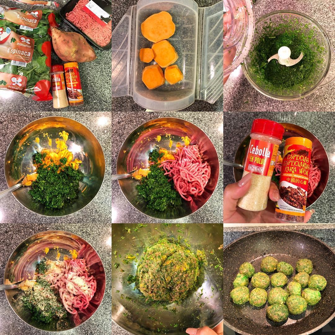 Albóndigas de ternera, espinacas y boniato