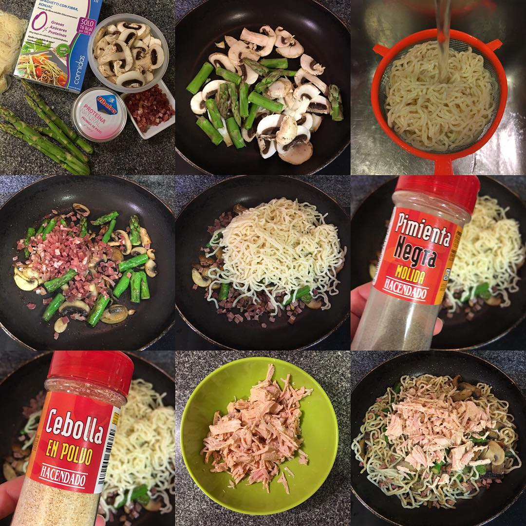 Espaguetis konjac con jamón