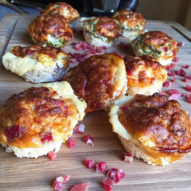 Muffins de verduras con jamón