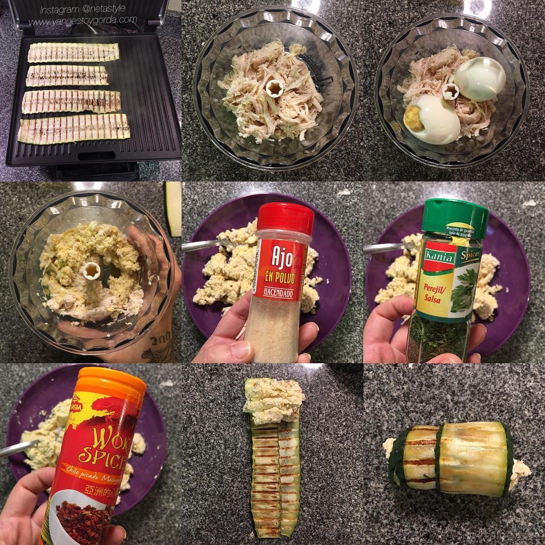 Canelones de calabacín con pollo