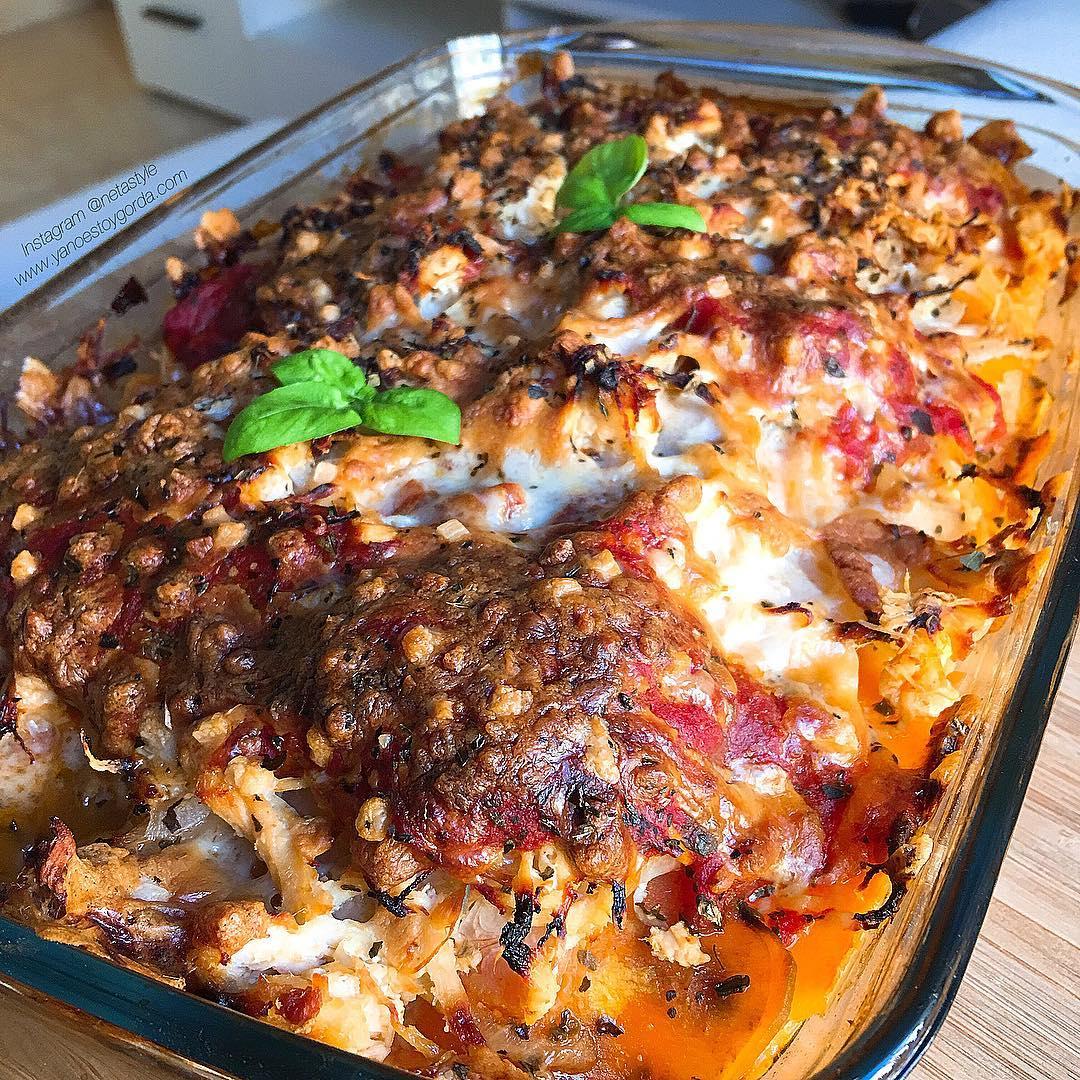 RECETA FITNESS: Lasaña de pollo y boniato
