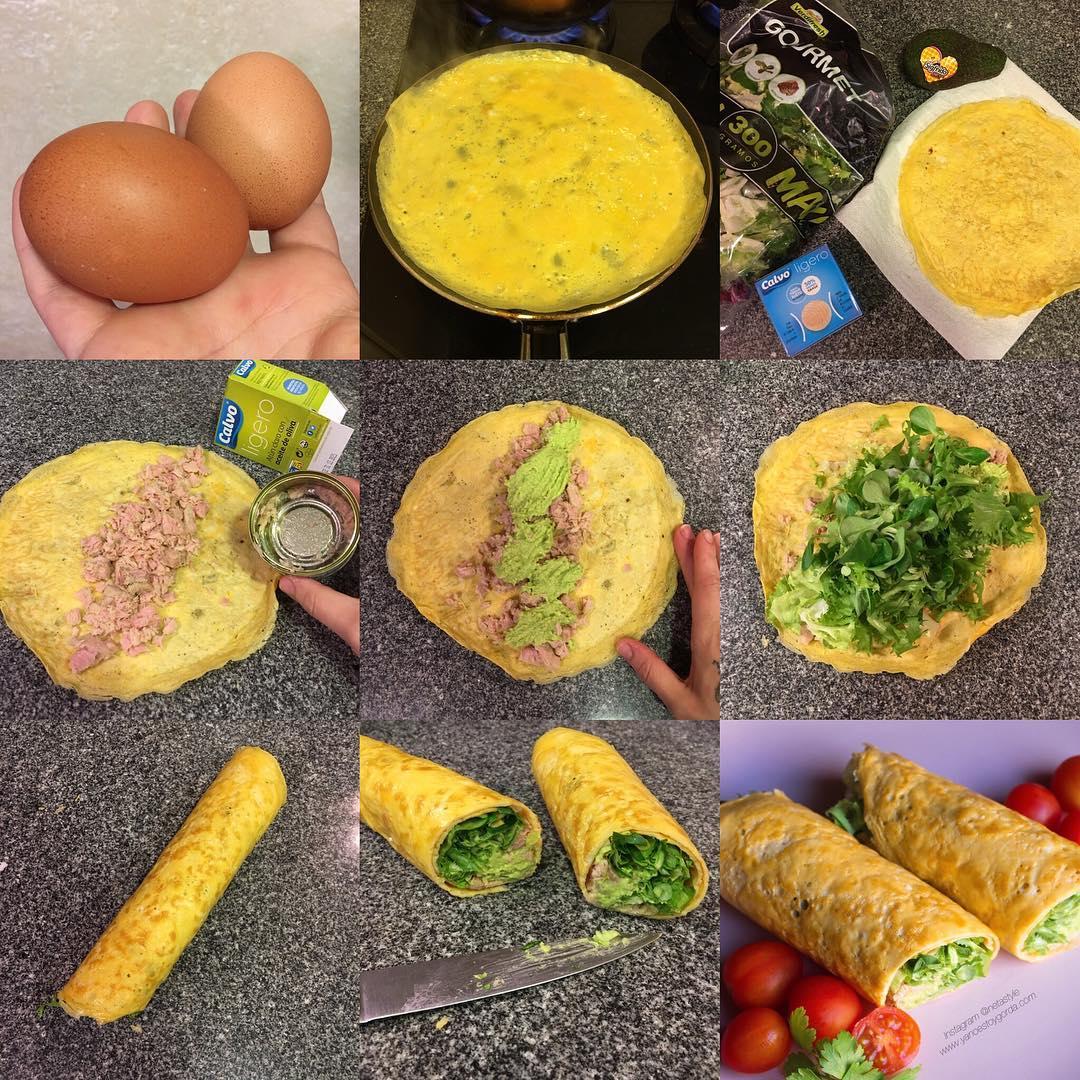 Wrap de tortilla con atún y aguacate