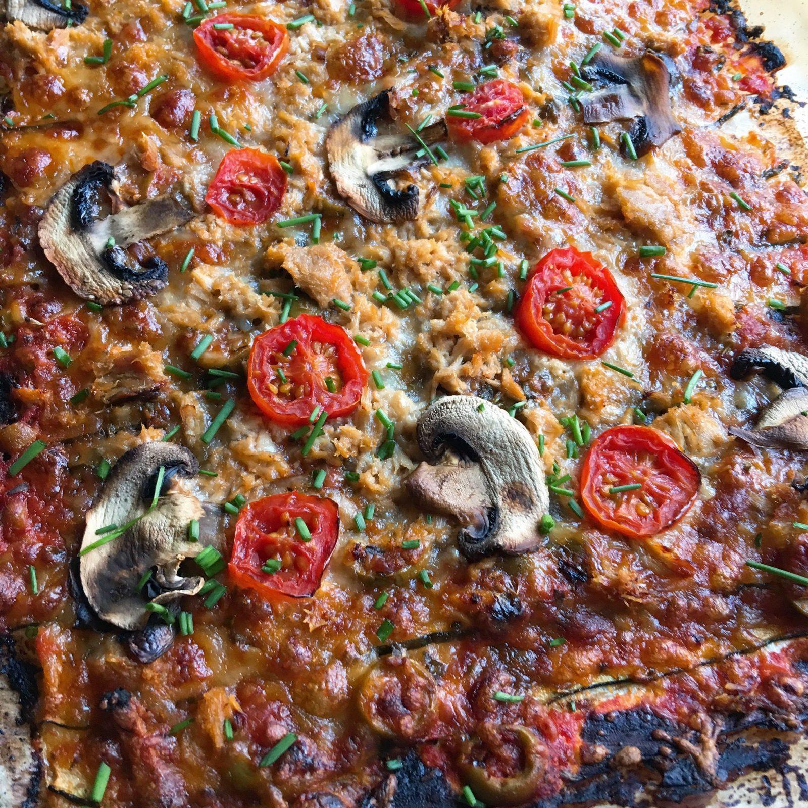 Calabacín a lo pizza de atún y champiñones