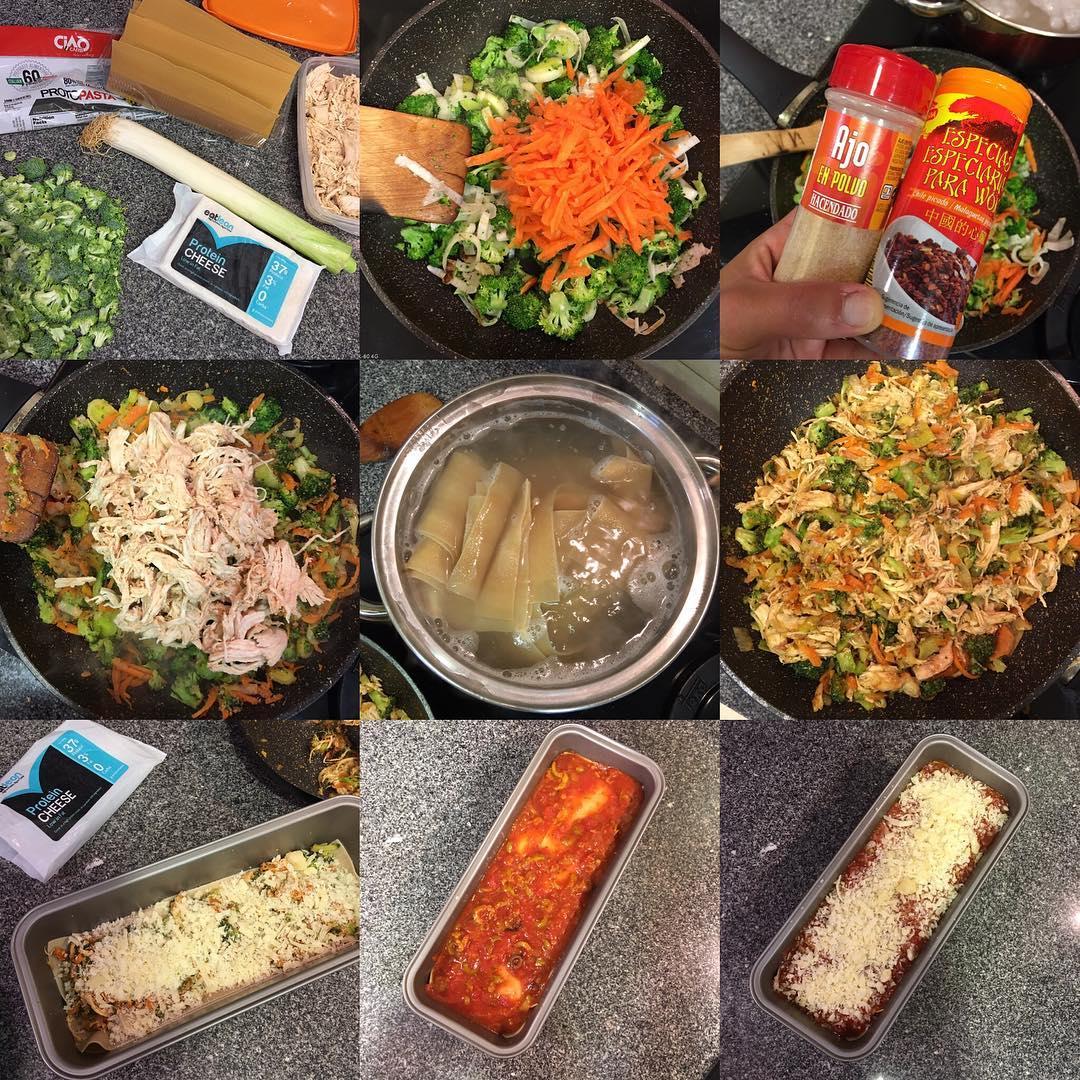 Lasaña baja en hidratos con verduras y pollo