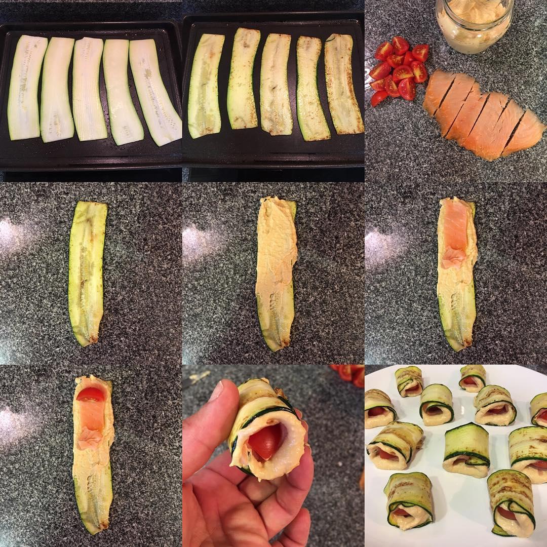 Calabacín con hummus y salmón
