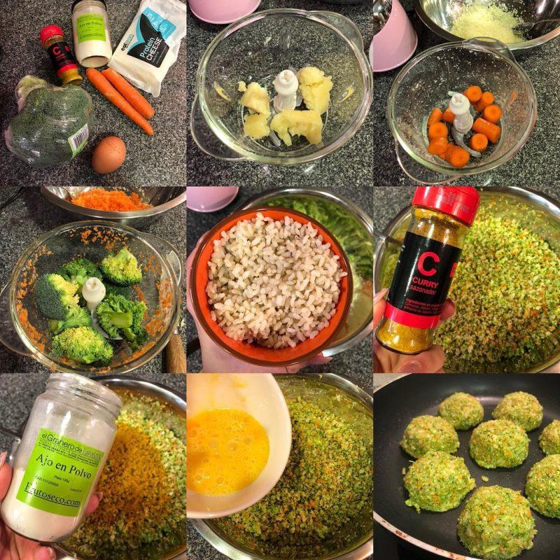 Medias lunas de brócoli, arroz, zanahoria y queso