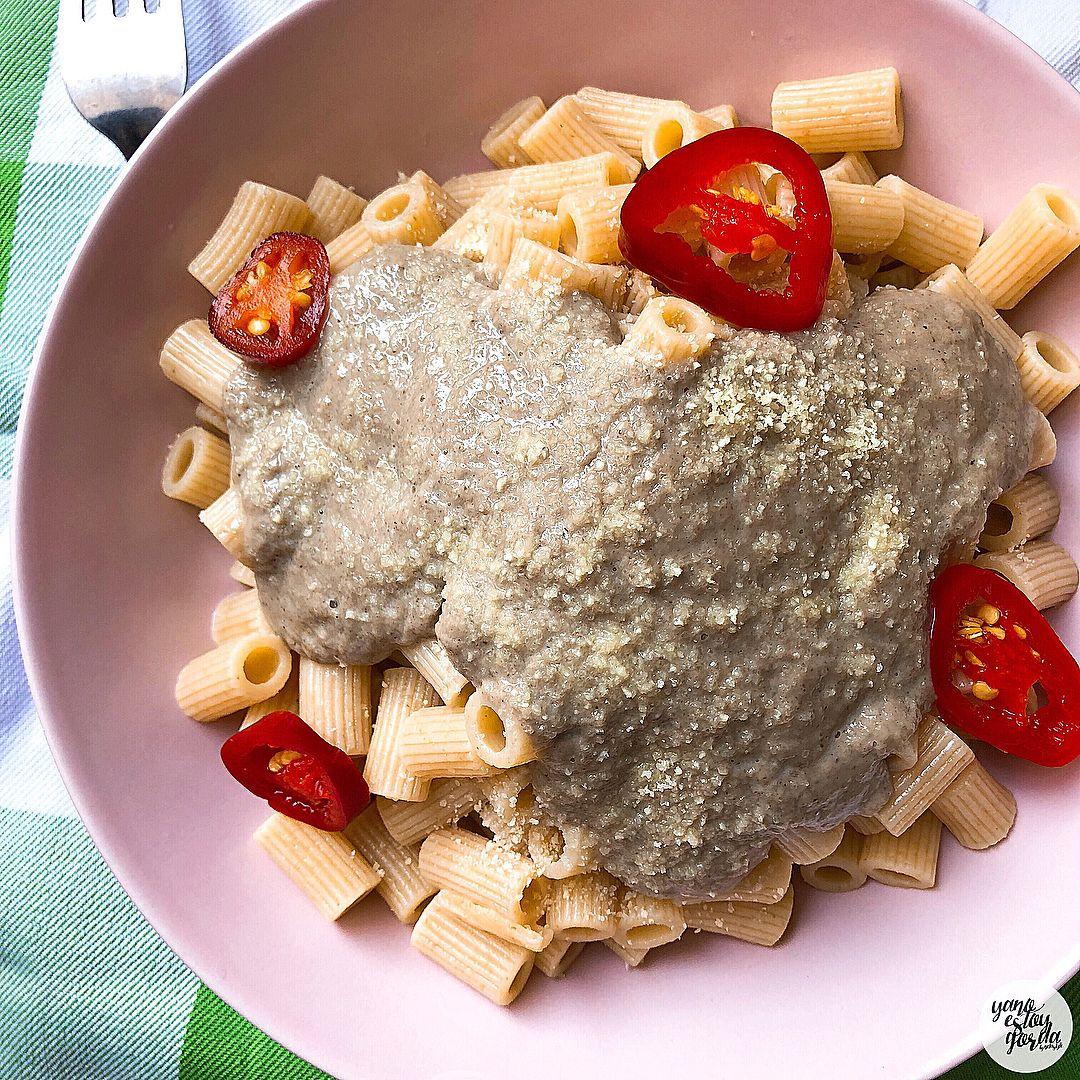 Salsa de champiñones y queso