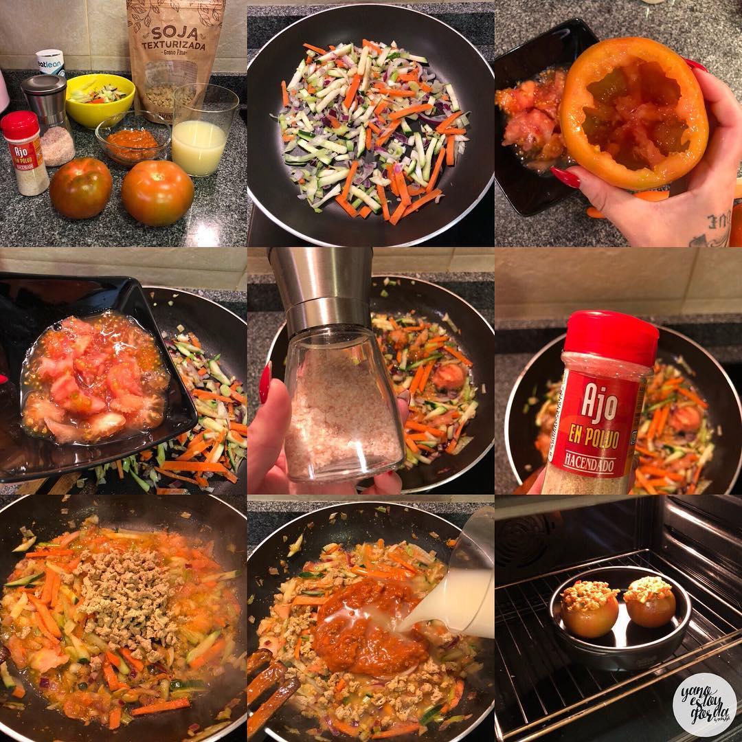 Tomates rellenos de soja y verduras