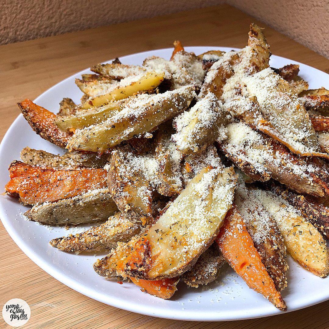 Patatas y boniato al horno con queso