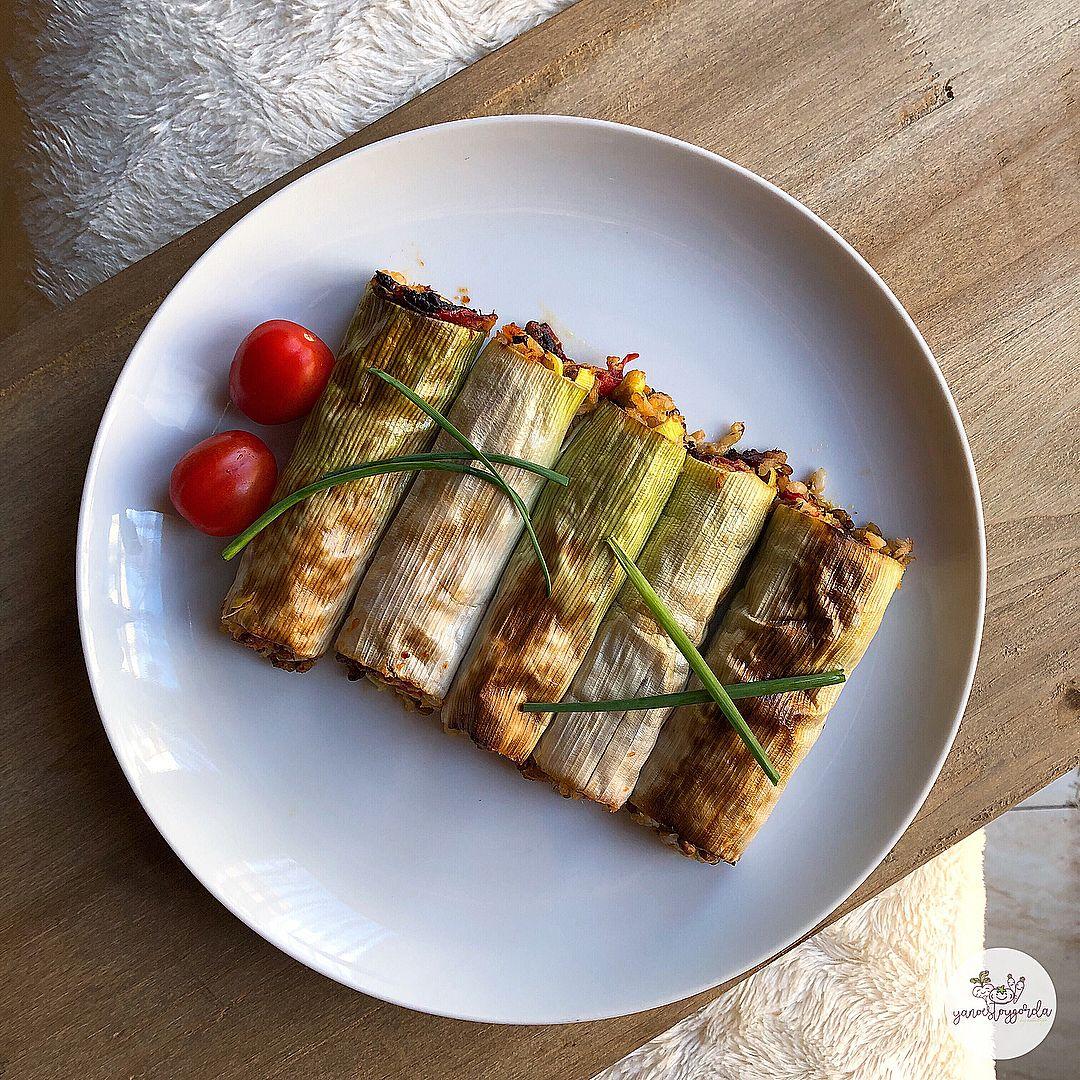 Canelones de lentejas con arroz y salmón