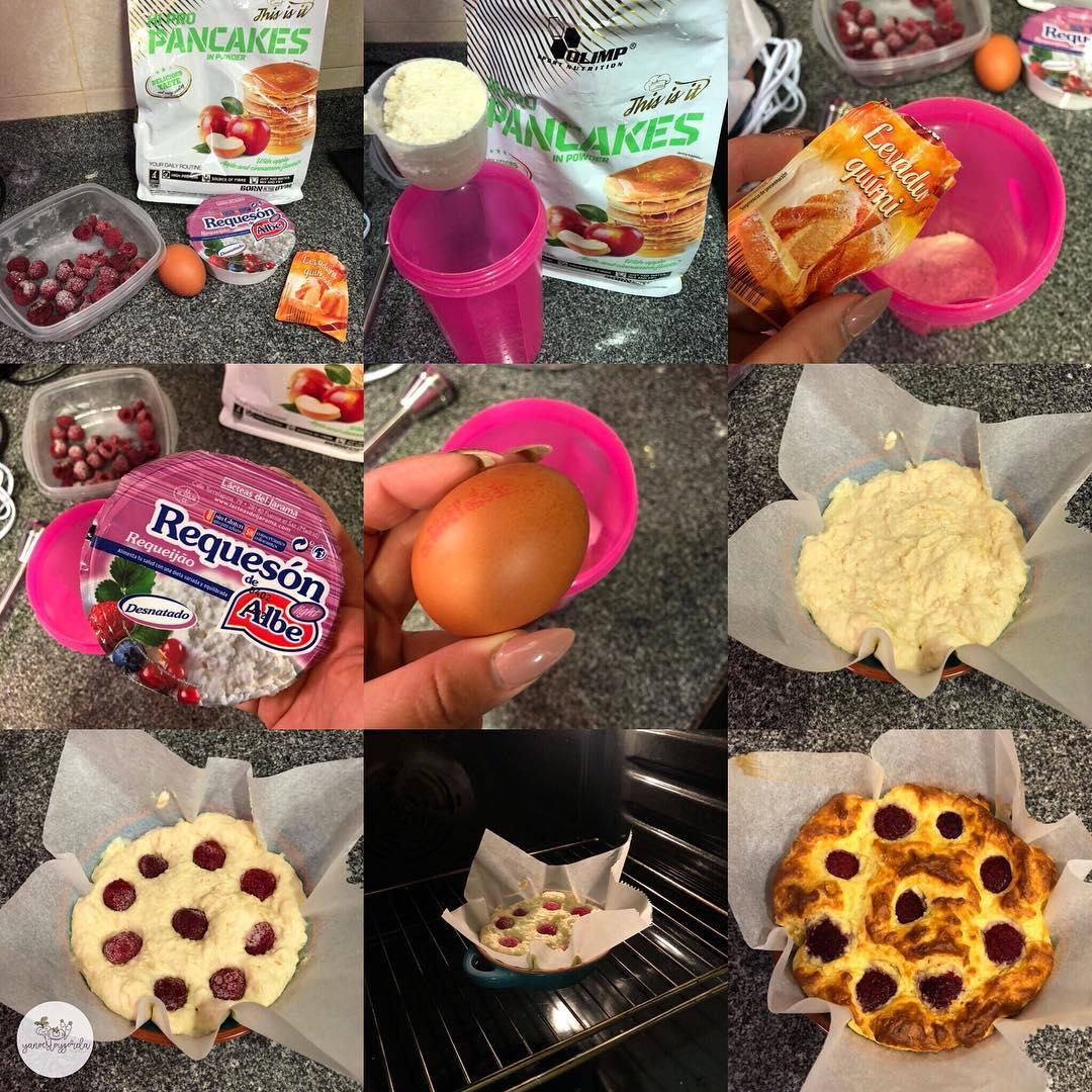 Cheesecake de manzana y frambuesas