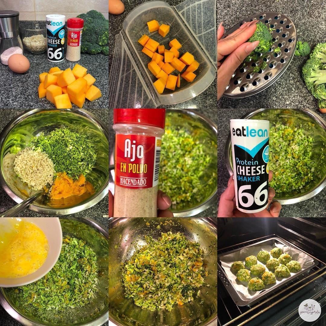 Albóndigas de calabaza, arroz integral y brócoli