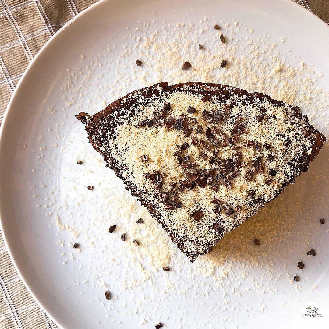 Maxitortita de avena y calabacín con cacao