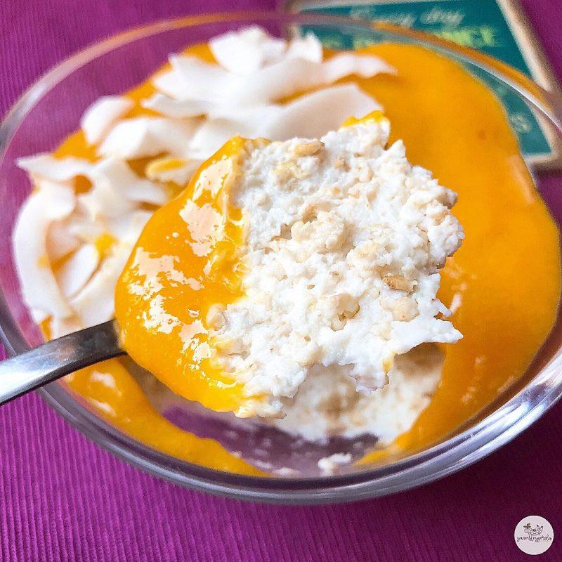 Mousse de avena con mango