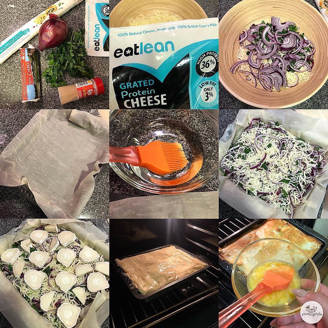 Pie de queso proteínico, cebolla morada, perejil y queso de cabra