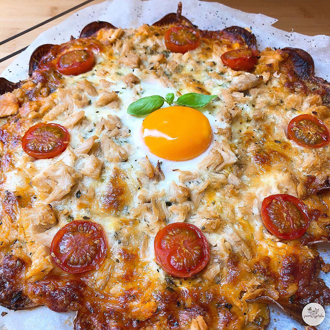 Patatapizza de bonito y huevo