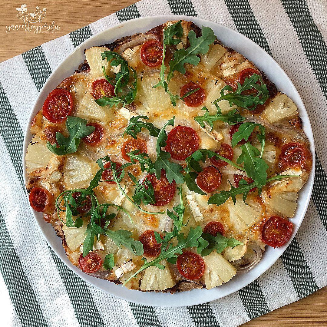 Pizza de espelta integral y piña