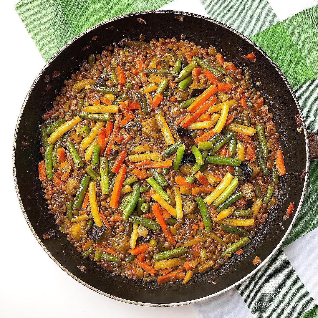 Lentejas con verduritas al curry
