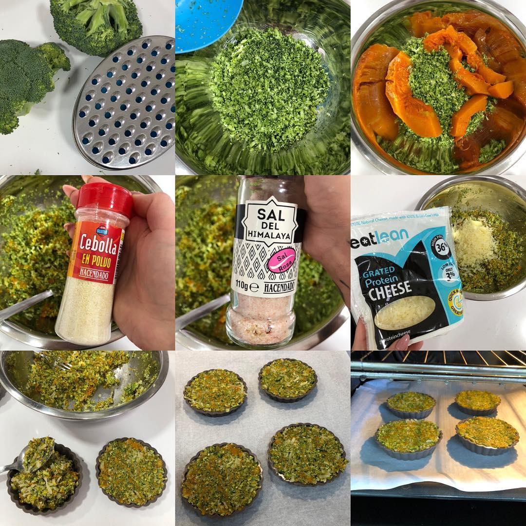 Tartaletas de brócoli y calabaza