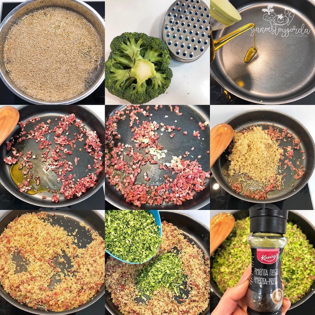 Brócoli con quinoa y jamón