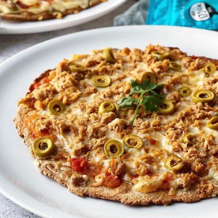PIZZA DE ATÚN CON BASE DE AVENA